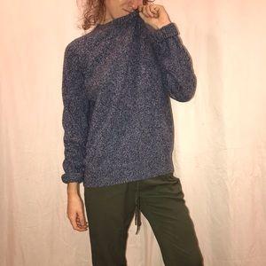 speckled knit oversized navy sweater by JCrew